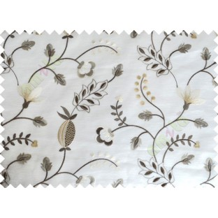 White Grey Beige Tapeter Rusta Design with Transparent Background Polycotton Sheer Curtain-Designs