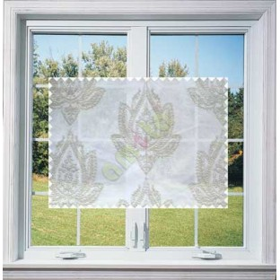 Pure White Beige Color Elegant Damask Emb Design with Polycotton Sheer Curtain-Designs