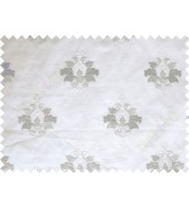 White Grey Natural Dew Drops on Floral Pattern with Transparent Background Polycotton Sheer Curtain-Designs