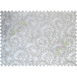 White Grey Color Vine Creeper Pattern with Transparent Background Polycotton Sheer Curtain-Designs