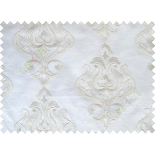 White Beige Color Leatherite Damask Patch with Transparent Background Polycotton Sheer Curtain-Designs