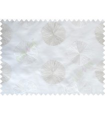 Pure White Silver Gold Geometric Emb Design with Transparent Background Polycotton Sheer Curtain-Designs