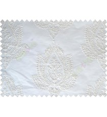 Pure White Color Elegant Damask Emb Design with Polycotton Sheer Curtain-Designs