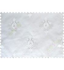 Pure White Natural Dew Drops on Floral Pattern with Transparent Background Polycotton Sheer Curtain-Designs