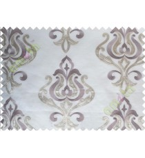 Pure White Purple Brown Color Leatherette Damask Patch with Transparent Background Polycotton Sheer Curtain-Designs