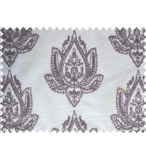 Pure White Purple Color Elegant Damask Emb Design with Polycotton Sheer Curtain-Designs