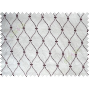 Pure White Purple Emb Safavieh Moroccan Pattern Polycotton Main Curtain-Designs