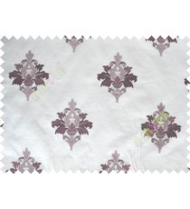 Pure White Purple Natural Dew Drops on Floral Pattern with Transparent Background Polycotton Sheer Curtain-Designs