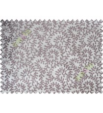 Pure White Purple Color Vine Creeper Pattern with Transparent Background Polycotton Sheer Curtain-Designs