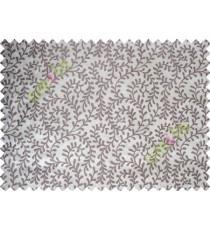Pure White Purple Color Vine Creeper Pattern Polycotton Main Curtain-Designs