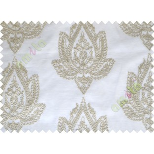 White Beige Brown Grey Tapeter Rusta Design with Transparent Background Polycotton Sheer Curtain-Designs