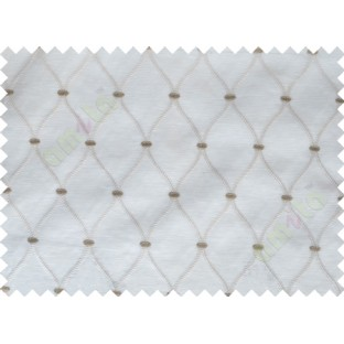 White Brown Emb Safavieh Moroccan Pattern with Transparent Background Polycotton Sheer Curtain-Designs