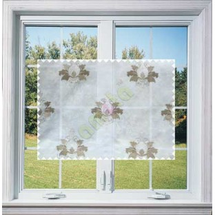 Pure White Brown Natural Dew Drops on Floral Pattern with Transparent Background Polycotton Sheer Curtain-Designs