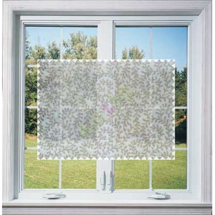 White Beige Color Vine Creeper Pattern with Transparent Background Polycotton Sheer Curtain-Designs