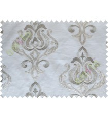 Grey Brown Color Leatherette Damask Patch with Transparent Background Polycotton Sheer Curtain-Designs