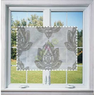Half White Grey Color Elegant Damask Emb Design with Polycotton Sheer Curtain-Designs