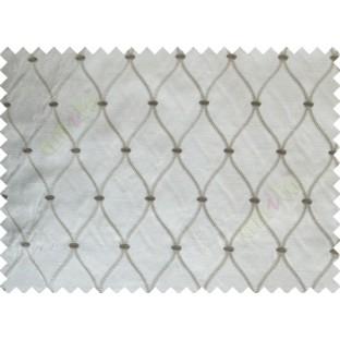 Grey Brown Emb Safavieh Moroccan Pattern Polycotton Main Curtain-Designs