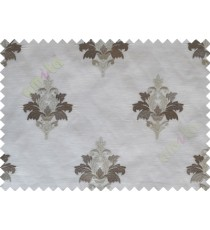 Grey Brown Natural Dew Drops on Floral Pattern with Transparent Background Polycotton Sheer Curtain-Designs