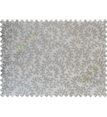 Grey White Color Vine Creeper Pattern with Transparent Background Polycotton Sheer Curtain-Designs
