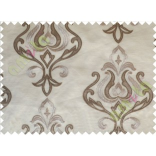 Beige Brown Color Leatherette Damask Patch with Transparent Background Polycotton Sheer Curtain-Designs