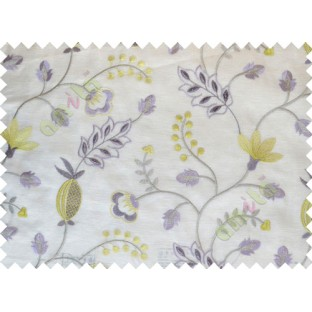 Beige Green Purple Brown Tapeter Rusta Design with Transparent Background Polycotton Sheer Curtain-Designs