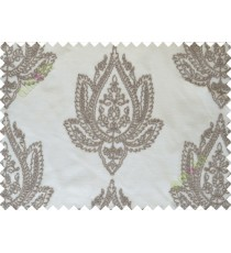 Beige Brown Color Elegant Damask Emb Design with Polycotton Sheer Curtain-Designs