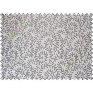 Beige Purple Color Vine Creeper Pattern Polycotton Main Curtain-Designs