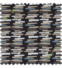 Black brown white horizontal break line stack polycotton sofa upholstery fabric