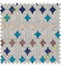 Blue brown grey geometric polycotton sofa sofa upholstery fabric