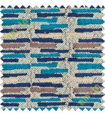 Blue brown horizontal break line stack polycotton sofa upholstery fabric