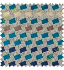 Blue brown square shapes polycotton sofa sofa upholstery fabric