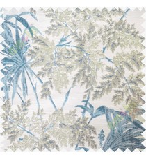 Blue white beige leaves poly main curtain designs