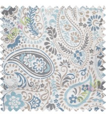 Blue white floral paisley poly main curtain designs