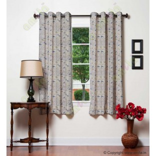 Blue beige flying falcon poly main curtain designs