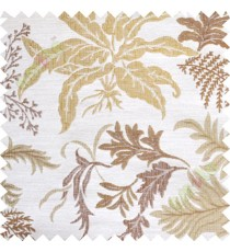 Brown yellow cut floral poly main curtain designs
