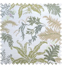Green beige cut floral poly main curtain designs