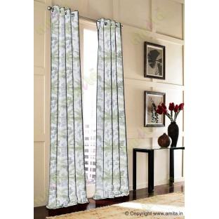 Green beige cut floral poly main curtain designs