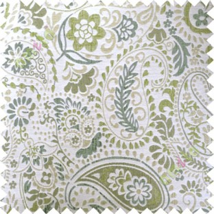Green white floral paisley poly main curtain designs