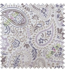 Purple brown floral paisley poly main curtain designs