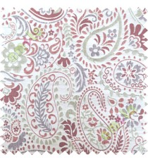 Red white floral paisley poly main curtain designs