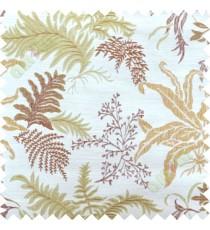 Green brown  cut floral poly main curtain designs