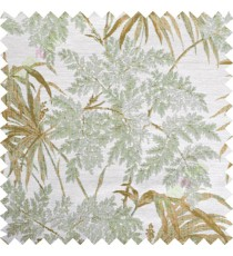 Green yellow brown leaves poly main curtain designs
