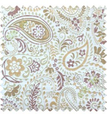 Brown beige floral paisley poly main curtain designs