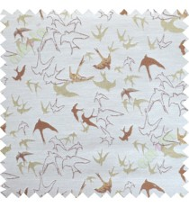 Brown green flying falcon poly main curtain designs