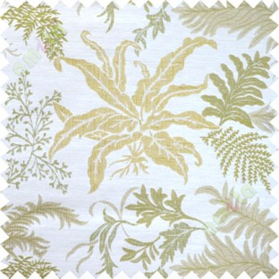 Yellow green cut floral poly main curtain designs