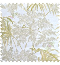 Green beige leaves poly main curtain designs