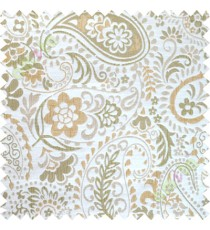 Green yellow floral paisley poly main curtain designs