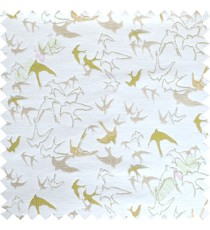 Green white flying falcon poly main curtain designs