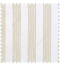 Beige cream color vertical soft texture thread stripes with transparent fabric poly sheer curtain