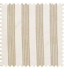 Brown cream color vertical soft texture thread stripes with transparent fabric poly sheer curtain